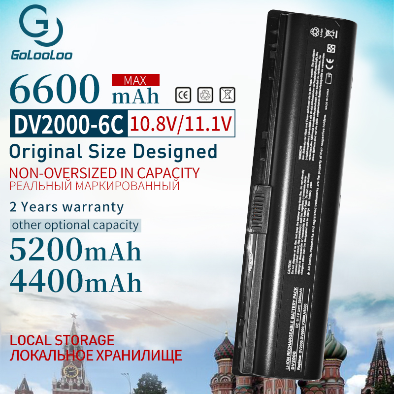 Golooloo 11.1v Laptop Battery For HP COMPAQ Presario EV089AA V3000 V6000 A900 C700 F500 F700 HSTNN-LB42 DV6000 G7000 HSTNN-DB42
