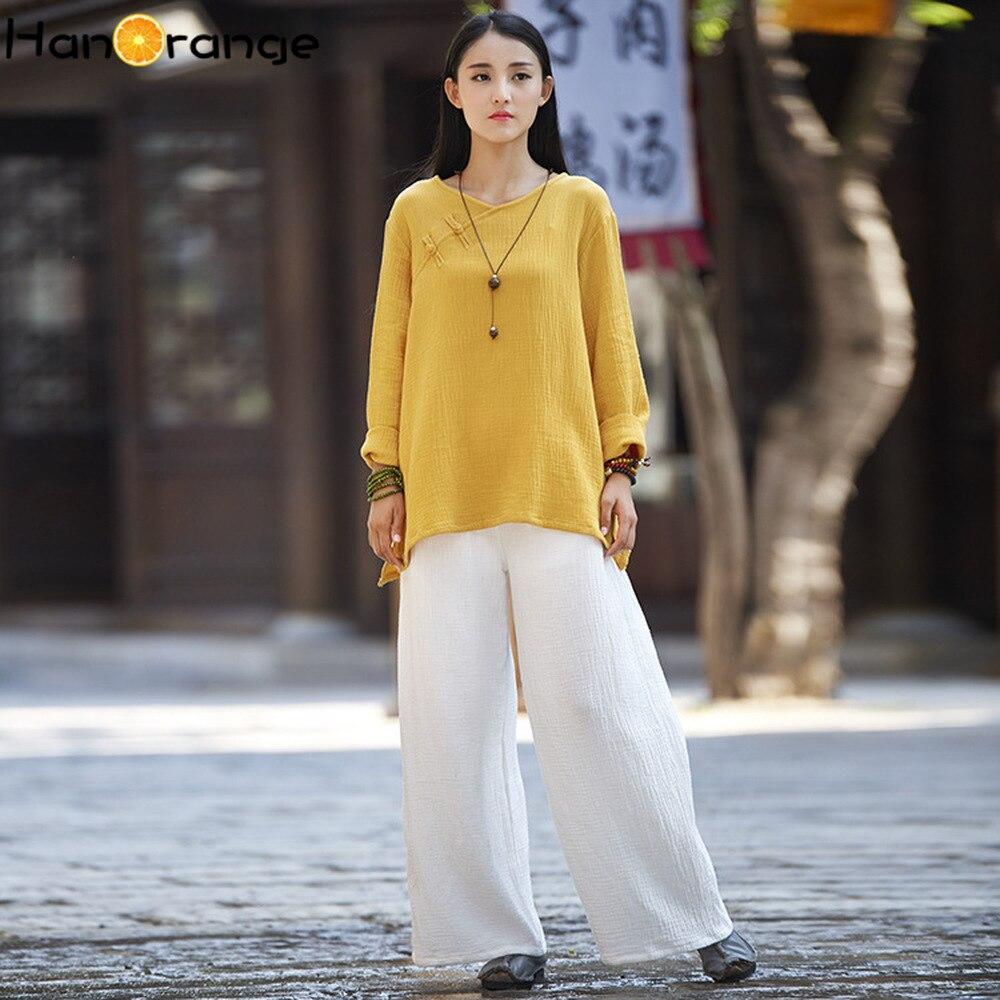 2019 Spring Autumn Original Vintage Long Sleeve Women Cotton Linen T-shirt Chinese Buckle Retro FROG