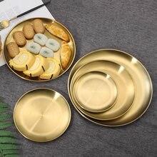 Nordic Stijl Diner Platen Goud/Zilver Eetkamer Serveren Golden Gerechten Ronde Cake Lade Westerse Steak Dessert Lade Keuken Platen