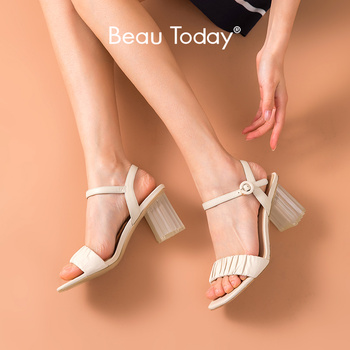 BeauToday High Heel Sandals Women Calfskin Genuine Leather Square Toe Ankle Buckle Strap Summer Ladies Pump Shoes Handmade 31056 2020 new superstar genuine leather pointed toe ankle strap square heel women sandals high heels slingback summer party shoes