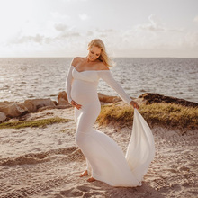Long Sleeve and Train Stretch Cotton Maternity Photography Dress Maternity Photo Prop Off Shoulder Elegant Fitted Gown Plus Size maternity photography prop maternity gown off the shoulder ruffle neckline long sleeves photoshoot pregnancy photography elegant