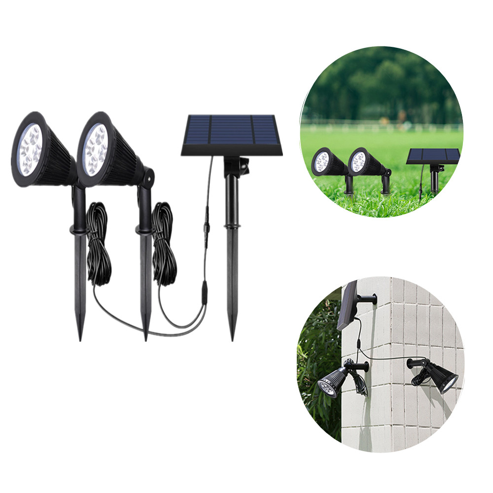 LED Solar Light Two Heads Spotlight Garden Light Outdoor/Indoor Waterproof Adjustable Lawn Lamp For Yard Patio House Wall Light|Solar Lamps| |  - title=