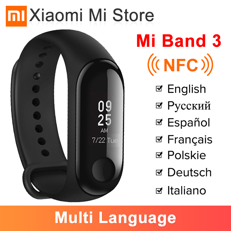 In Stock Xiaomi Mi Band 3 NFC Smart Bracelet Big Touch OLED Screen Fitness Message Heart Water resistant CN Version Smartband(China)