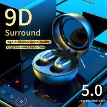 Écouteurs sans fil Bluetooth TWS, casque d'écoute 9D, stéréo hi-fi, pour sport, gym, étanche, avec boîte de chargement de micro