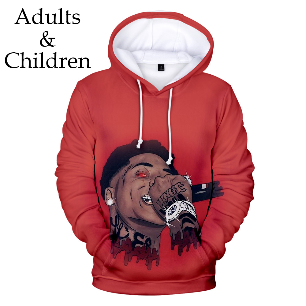 Red Hooded 3D YoungBoy Never Broke Again Hoodies Men Women Sweatshirts Harajuku Kids Autumn Pullover Suitable 3D Boys Girls Tops