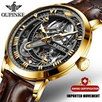 高級メンズ機械式腕時計自動腕時計メンズクラシックスケルトン革トップブランドoupinke透明なサファイア防水