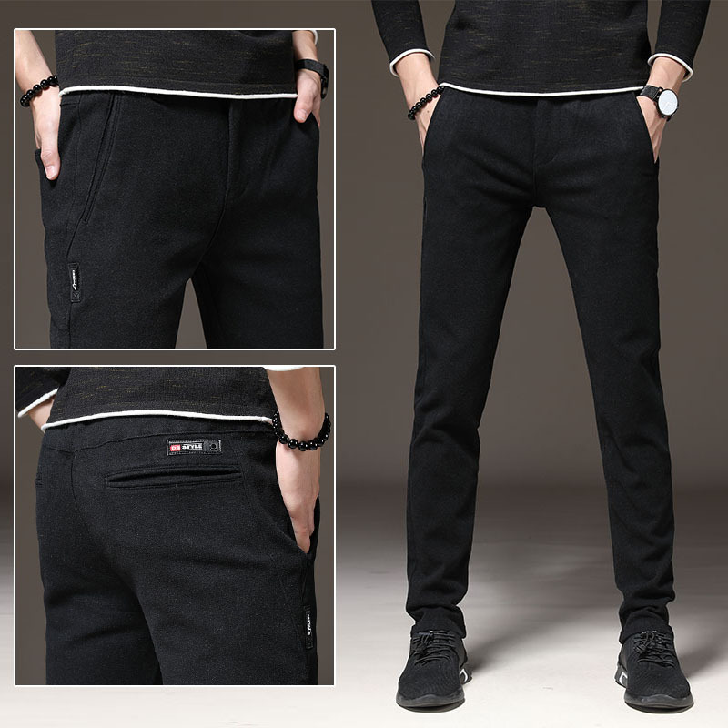 2018 Autumn And Winter MEN'S Casual Pants Korean-style Versitile Fashion Simple Trend Brushed Pants Straight-Cut Youth Casual Pa