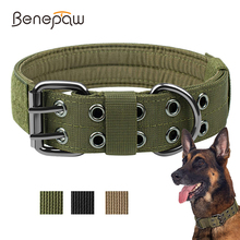 Benepaw Durable Tactical Dog Collar Adjustable Heavy-duty Military Training Pet Collar Medium Large Dogs Magic Sticker ID Panel