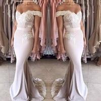 Elegant 2019 Cheap Bridesmaid Dresses Under 50 Mermaid Off The Shoulder Appliques Long Wedding Party Dresses For Women