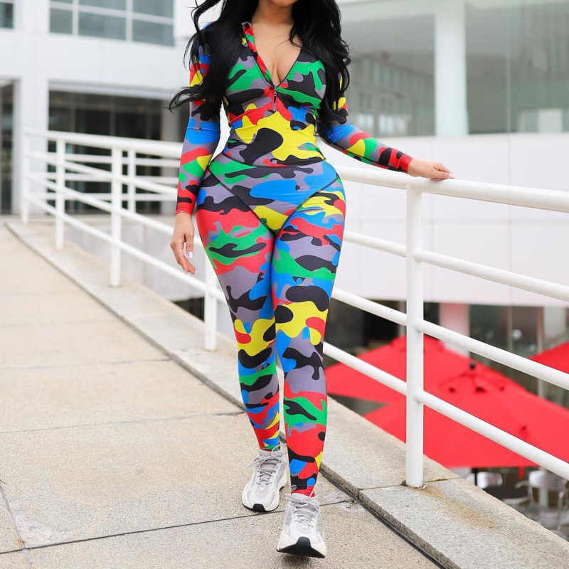 Sexy Camouflage Print Bodycon Jumpsuit Women Causal Zipper Long Sleeve Skinny Sports Rompers Night Club Overalls For Women