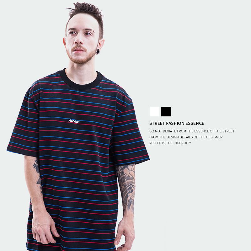 Palace Life18SS Basically A Stripe Multi-color Stripe Popular Brand MEN'S Short-sleeved T-shirt