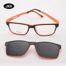 Очки с оправой для мужчин с поляризованными магнитными зажимами, солнцезащитные очки для близорукости, очки с линзами по рецепту, зеркало для вождения JKK75