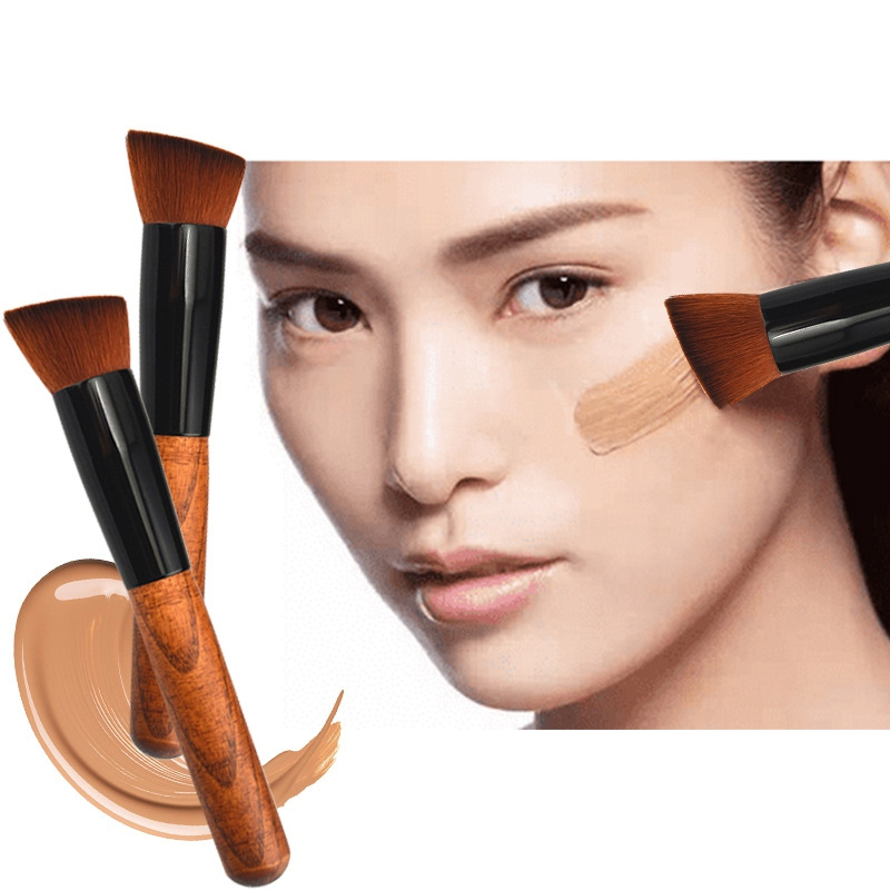 Foundation-Brush Portable Face-Contour-Blush Wooden Fiber Oblique-Head Easy-To-Use