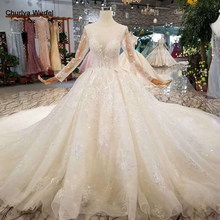 LSS156 see-through new wedding dress illusion o-neck poet long sleeves lace up back beauty wedding gown with train free shipping(China)