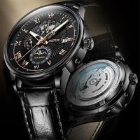Üst marka JSDUN lüks erkekler mekanik kol otomatik İzle erkekler klasik ay fazı deri su geçirmez askeri kol saati