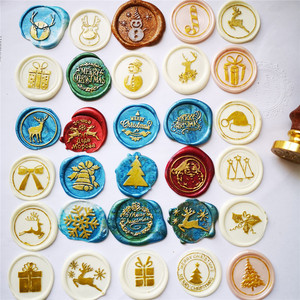 Image 3 - 2020 new Merry christmas wax seal stamp jingle bell Snowflake Santa Claus deer sock tree christmas gifts Retro sealing wax Stamp