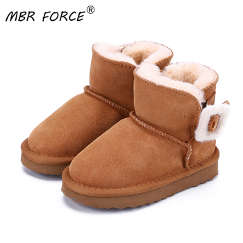 MBR FORCE Children fashion snow boots 2020 winter new leather Girls Boys plush button Ankle boots non-slip warm snow boots