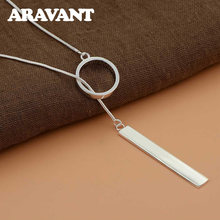 Серебро 925 Длинные круглые подвески ожерелье цепи для женщин