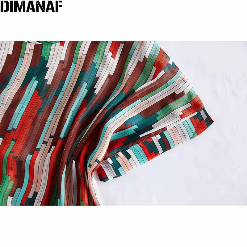 DIMANAF 2020 été grande taille femmes T-Shirts en vrac décontracté montre de sport tunique chemises surdimensionné femme vêtements imprimer rayé nouveau