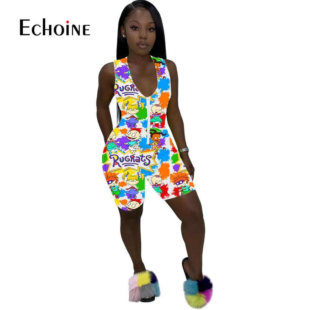 Echoine summer new sexy cartoon print front zip skinny short jumpsuit design popular women v neck sleeveless playsuit bodysuit