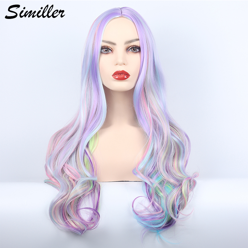 Similler Long Wavy Wig with Highlights Cosplay Synthetic Wigs for Women Heat Resistant Middle Part Rainbow Wig