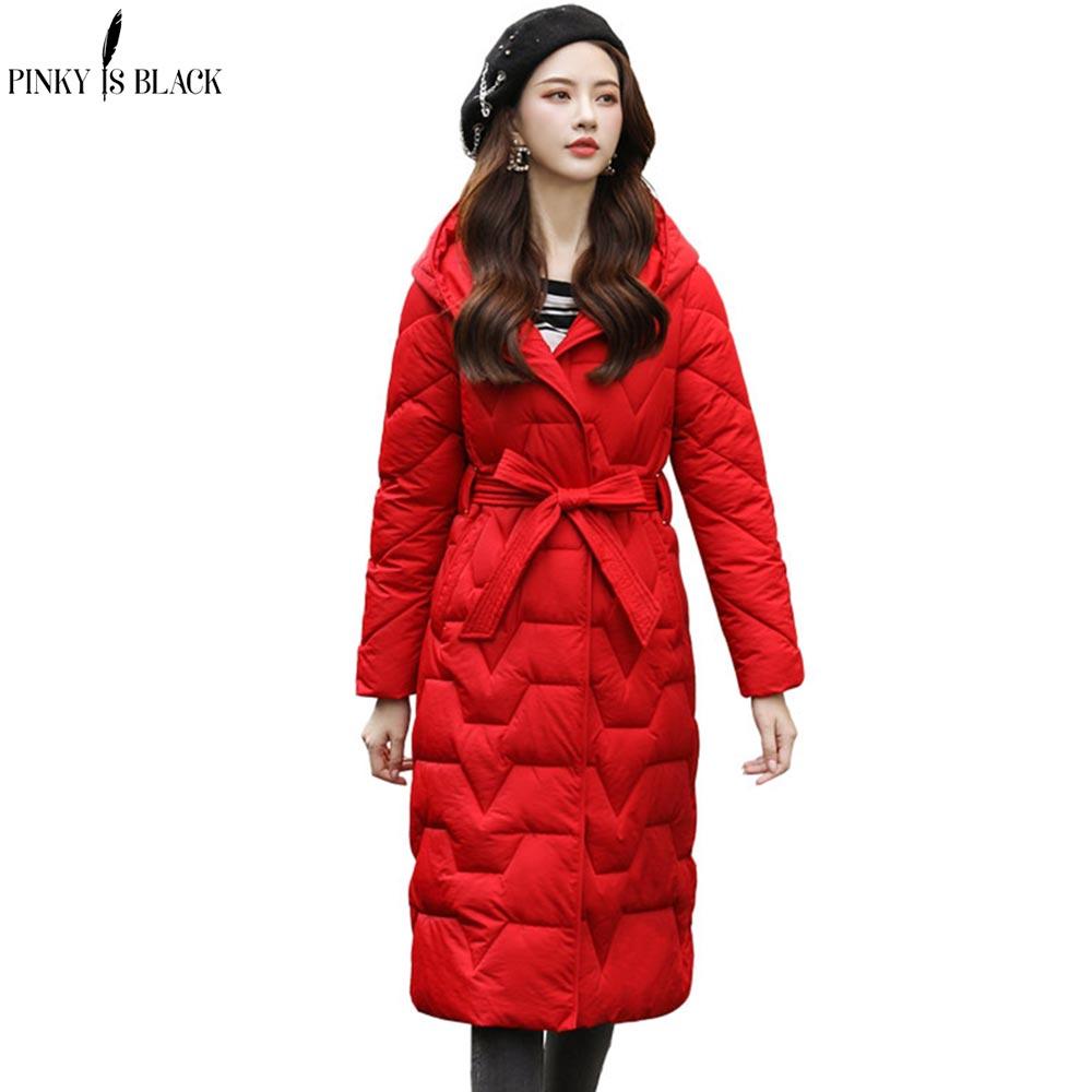 PinkyIsBlack Winter Jacket Women 2019 New Autumn Coat Long Hooded Parkas And With Belt