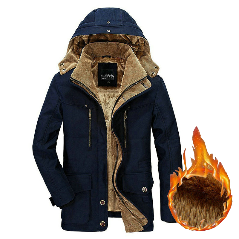 Winter Jacket Men Thick Warm Hooded   Parka   Military Cargo Mens Coat Fleece Male Overcoat Plus Size M--5XL