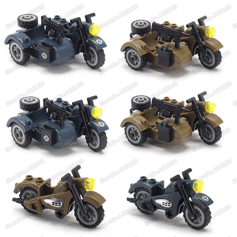 Ww2 Moto Military Three Rounds Motorcycle Moc Germany Tool Car Army Figures Vehicle Christma Gift With Other Building Blocks Toy