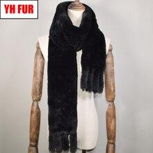 Длинный стильный женский зимний Настоящий мех кролика шарф натуральный мех кролика рекс шарфы брендовые Трикотажные Кролика Рекс брелок с мехом шарфы