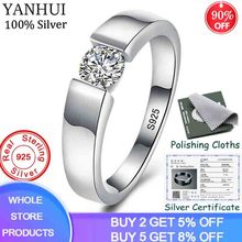 YANHUI Real Natural 925 Sterling Silver Couple Rings set 0.75 Carat Diamant CZ Engagement Wedding Rings for Men and Women ZRD10