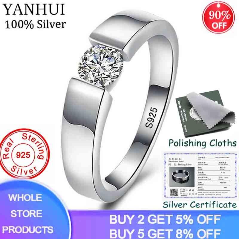 Yanhui com certificado 925 prata esterlina casal anéis 0.75 carat diamant cz noivado anéis de casamento para homem e mulher zrd10