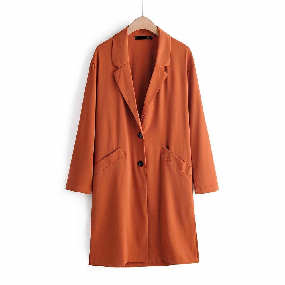 Autumn Fashion Elegant Women Purple Lapel Collar   Trench   Coat Stylish Chic Orange Windbreaker Casual Long Outerwear
