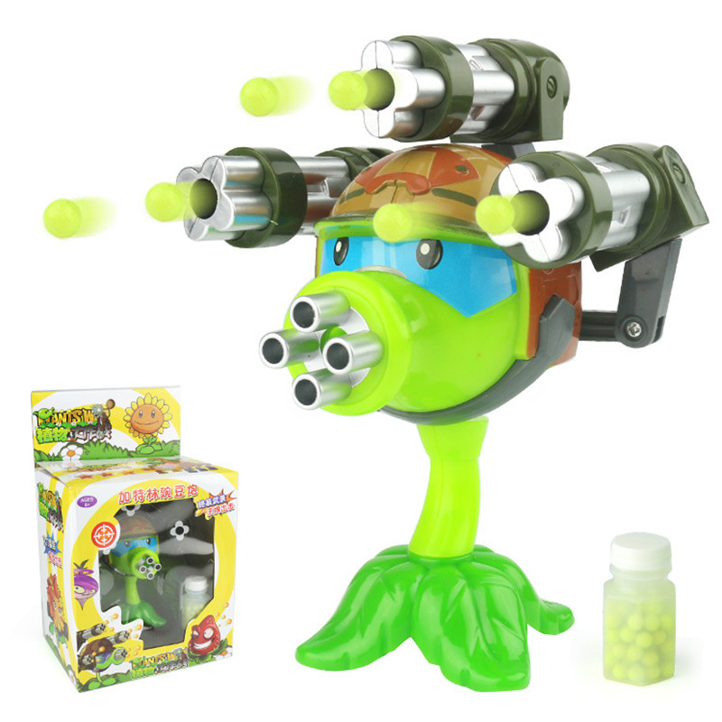 1PCS interesting Plants vs Zombies anime Figure Model Toy 15cm Gatling Pea shooter (3 guns)High Quality Launch Toy for Kids Gift image