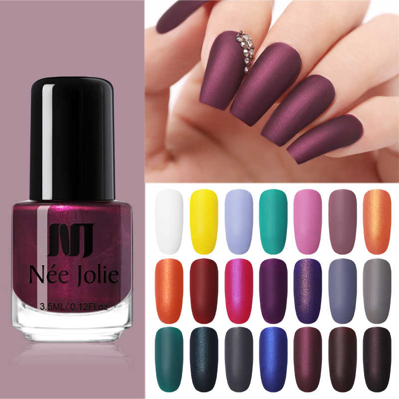 Nee Jolie Anyaman Warna Solid Warna Cat Kuku Nail Art Berminyak Varnish DIY Matte Varnish Kusam Cat Kuku