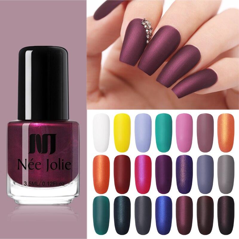 NEE JOLIE 3.5ml Matting Nail Polish Black Pink Art Oily Varnish Manicure DIY Design Tool Lacquer Tips