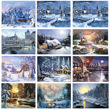 Frameless Snow Scene DIY Painting By Numbers Kit Landscape Wall Painting Unique Gift Acrylic Paint By Numbers For Home Art