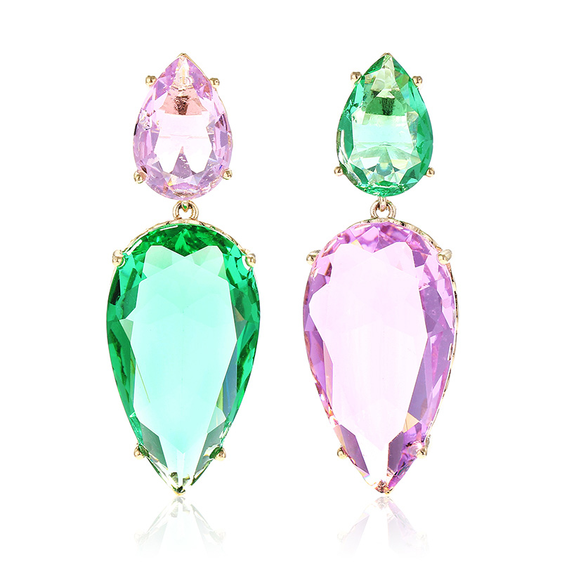 Large Water Drop Stone Earrings Personalized Carrot Design Asymmetry Color Zircon Fashion for Women Girls