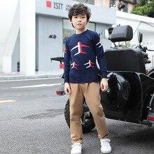 Детская одежда; коллекция года; осенняя одежда; стиль; свитер для мальчиков; Детский свитер из чистого хлопка; жаккардовый Детский свитер в Корейском стиле для больших мальчиков