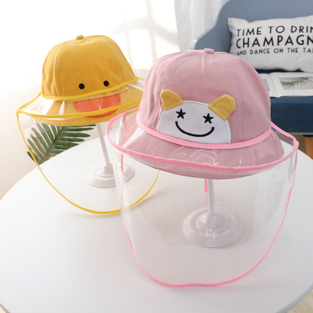 Baby Kids Bucket Hat Boys Girls Cap Protective Face Shield Cover Mask Detachable Sun Hats Anti Saliva Dustproof Fisherman Caps 2