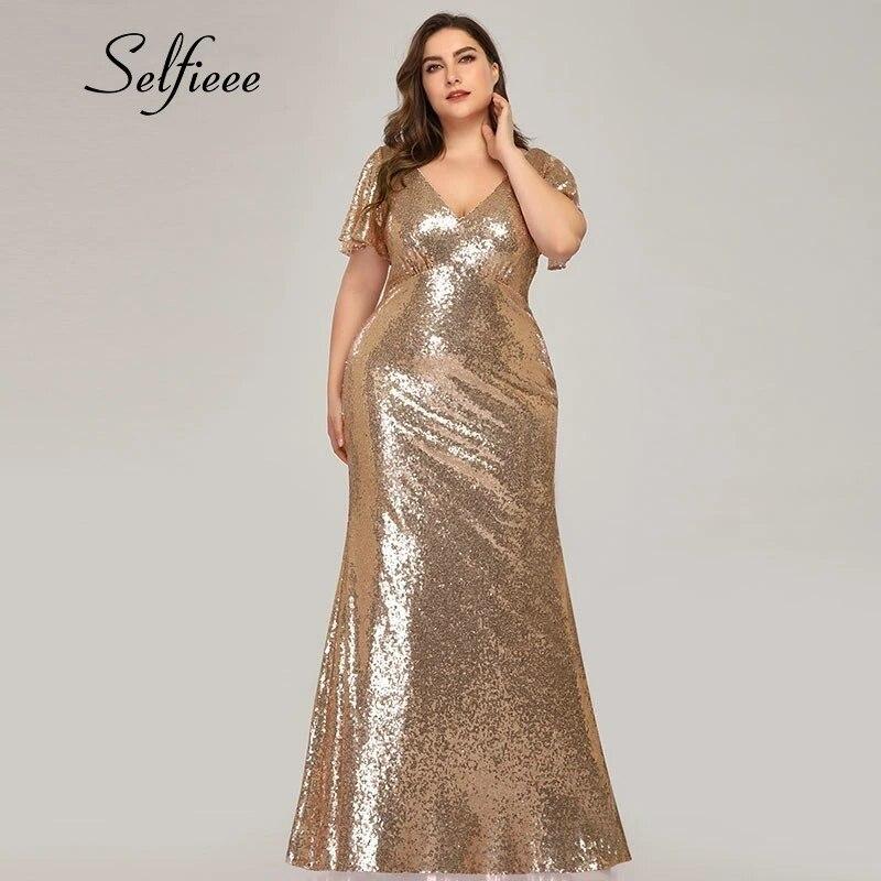 Plus Size Rose Gold Mermaid Women Dresses Short Sleeve Sequined V Neck Bodycon Elegant Maxi Dresses For Party Robe Femme 2020 Dresses Aliexpress