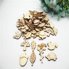 Coffrets en bois d'écureuil, en forme d'écureuil, en forme d'écureuil, en forme de champignon, mélange naturel, Scrapbooking, pour décoration faite à la main, DIY, 20/50/100 pièces, 30mm