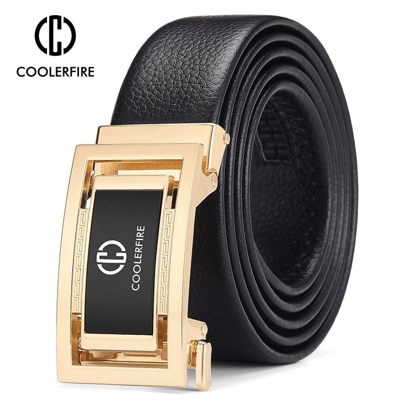 Men Genuine Leather High Quality Belt Automatic Buckle Dress Belts For Men  Casual Vintage Men's Belts Luxury Trouser Black Belt