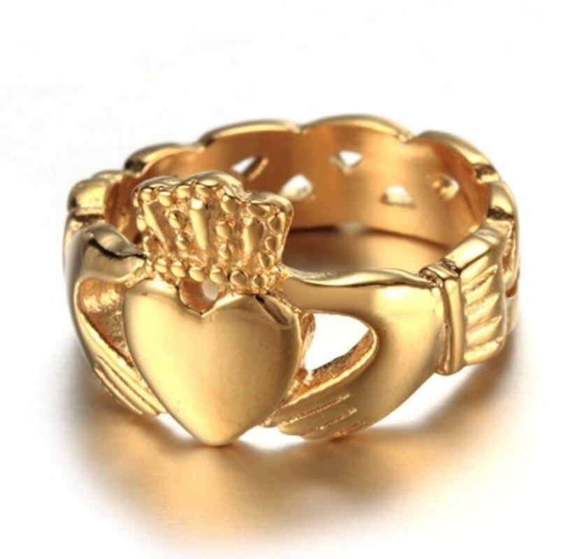 Clássico da irlanda do norte estilo claddagh coração amor anel glamour senhoras festa de casamento jóias