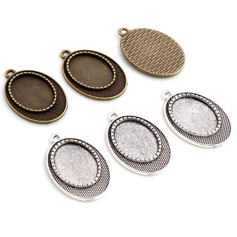 10pcs 13x18mm Inner Size Antique Silver Plated Bronze Classic Style Cameo Cabochon Base Setting Pendant Necklace Findings