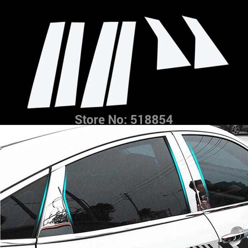 6PCS  Window Pillar Post Cover Trim Molding Garnish For Jeep Cherokee 2014-2017