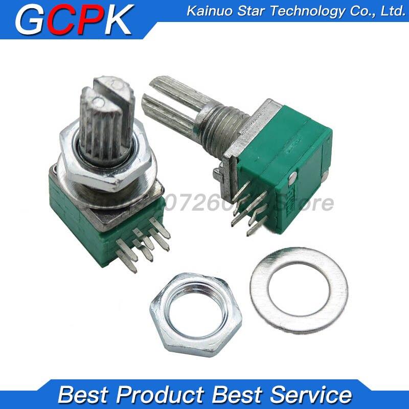 10 шт. 6PIN RK097G B5K B10K B20K B50K B100K дуплексный потенциометр, усилитель звука, потенциометр 15 мм, ручка 5K 10K 20K 50K 100K