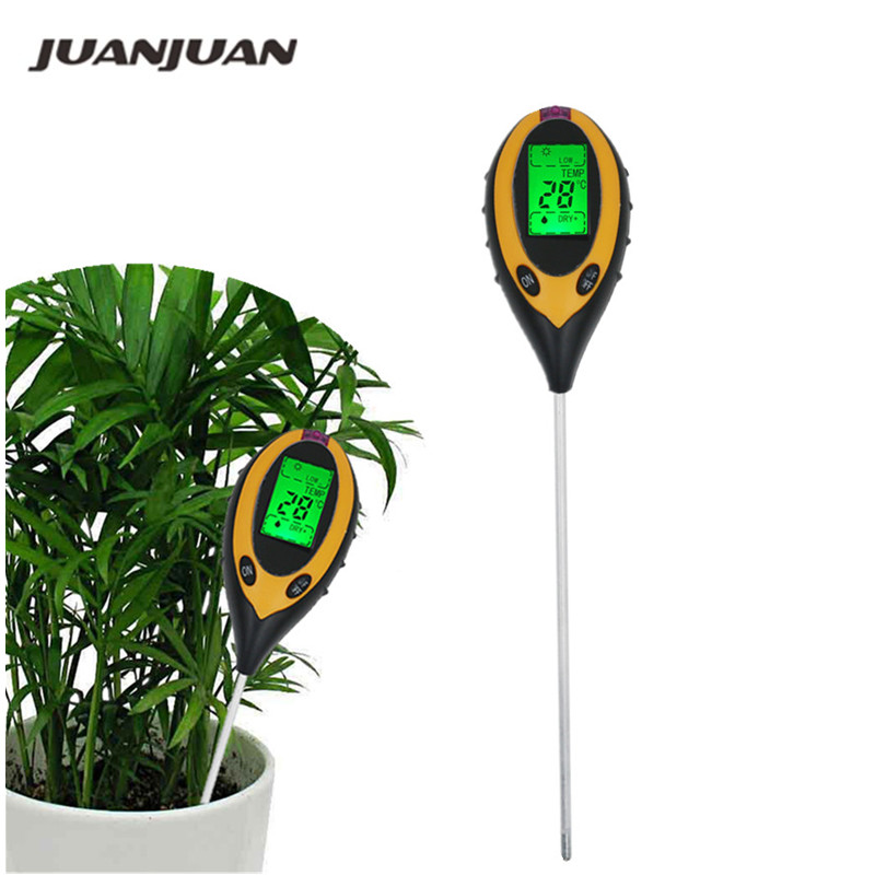 3/4 In 1 Soil Ph Meter Soil Tester PH Moisture Meter Temperature Sunlight Intensity Measurement Analysis Acidity Alkali 40%Off
