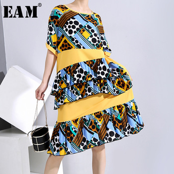 [EAM] Women Yellow Dot Striped Printed Big Size Dress New Round Neck Half Sleeve Loose Fit Fashion Tide Spring Summer 2020 1U651