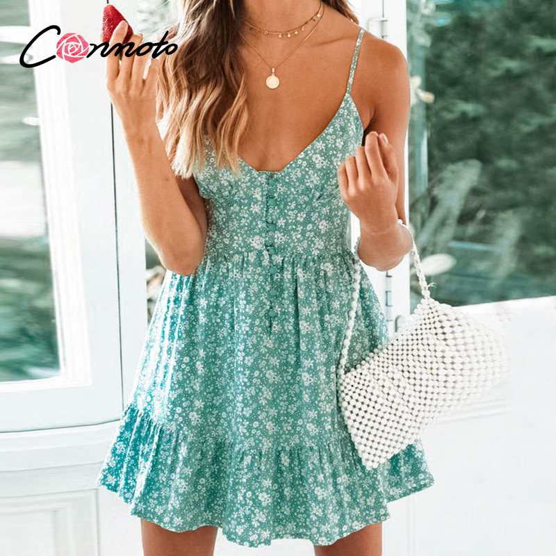 Conmoto Ruffles Spaghetti Strap Green Women Dresses Button Female Beach Summer 2019 Dress Mini Sexy Dress VestidosDresses   -