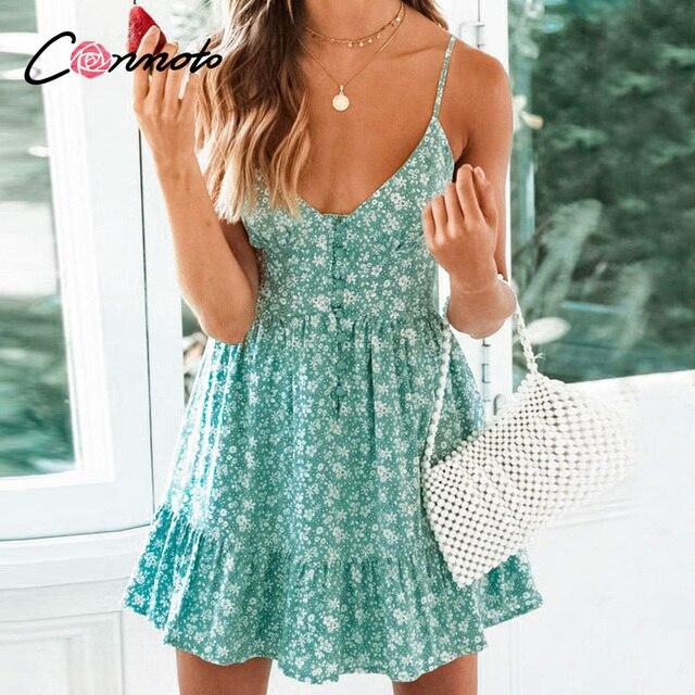 Conmoto Зелёные летние платья на тонких бретельках, платье с воланами, сексуальное короткое платье, пляжное платье, 2019